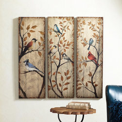 Grandin Road - Kenai Bird Triptych - Set of three wood panels with images of North American birds perched on branches. Each panel is antiqued as if they've been hanging for years. Keyhole mounts. Add the aura of an heirloom to your decor with our Kenai Bird Triptych. Our set of three painted panels celebrates the birds of North America. Cardinal, Blue Jay, and other species perch on slender branches dotted with autumn leaves. Panels are treated to look weathered by age, which adds to their charm.  .  .  .