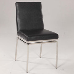 Chintaly Imports - Tyler Contemporary Black Side Chair - Set of 2 - Upholstered Back. Stainless Steel accent under Side Chair. CA Fire Retardant Foam. Fully Assembled