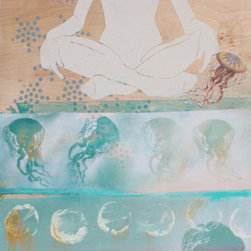 Peace with Jellies Original Painting - Bring calm to your home with this inspiring portrait by artist Sheryl Daane Chesnut. The dancing jellyfish add ethereal movement to this unforgettable painting, making it perfect for any room in the house that needs a little flow. This calming, mixed-media piece comes on raw-edged birch panel, and ready to hang with a French cleat (included).