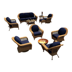 Forever Patio - Catalina 4 Piece Wicker Chat Set, Straw Wicker, Navy Cushions - The 4 Piece Catalina Chat Set with Blue Sunbrella® Cushions is perfect adding lots of seating and style to your patio, especially around fire pits or outdoor tables. The set seats 4 adults comfortably, and includes 2 lounge chairs and 2 swivel glider chairs. This set features Straw wicker with a full round design that creates a complex and luxurious look. Every strand of this wicker is made from High-Density Polyethylene (HDPE) and is infused with its natural color and UV-inhibitors that prevent cracking, chipping and fading ordinarily caused by sunlight. The set is supported by a thick-gauged, powder-coated aluminum frame that makes it extremely durable and resistant to corrosion. Also included are cushions covered in fade- and mildew-resistant Sunbrella® fabric. The swivel and lounge chairs are designed with full-sized seating and thick cushions to make your time outdoors incredibly comfortable.