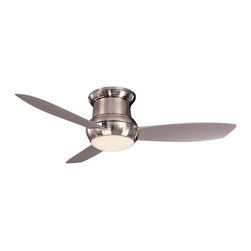 Minka Aire Fans - 52-Inch Wet Rated Ceiling Fan w/ Three Blades and Light Kit - F574-BNW - Contemporary / modern brushed nickel 1-light outdoor ceiling fan. Achieve cool comfort inside and out with this wet location ceiling fan. The integrated light kit features white opal glass and a cap for non-light use. A full function wall control regulates speed, direction and light dimming. Takes (1) 100-watt halogen T4 bulb(s). Bulb(s) sold separately. UL listed. Wet location rated.