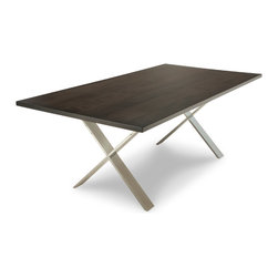 Woodcraft - Chrome X Table, 42x84 - We have found the perfect blend of old and new: Solid Wood tops with the elegance of Chrome.  The St. Lawrence has everything you want in a modern dining room.  Elegance, stability, durability and style.  Show in Canadian Maple.