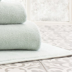 "Pine Cone Hill - PCH Signature Chalk Blue Bath Mat - Plush and luxurious, PCH's Signature bath mat provides comfort to a bathroom. Featuring a solid chalk blue hue, soft cotton forms the bathroom accessory's absorbent design. 100% cotton; Machine washable; 21""W x 34"""