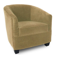 "Passport Home - Laurie Chair - Cocoon-like with its circular style and gently sloping arms, the inviting Laurie chair defines both style and versatility. The Laurie chair is upholstered in a high quality fabric with the look of mohair. Features: -Solid wood legs.-Attached arm and back pillows.-Seat cushions of high performance.-Seams are sewn with bonded nylon.-Monofilament threads for strength and flexibility.-Soft and resilient 1.8 high density polyurethane foam with foam wrap.-Major frame joints are corner blocked, glued, and stapled for added stability.-Outside panels are padded to add softness and support to the fabric or leather, preventing it from sagging and becoming loose.-Tempered steel sinuous springs for both back and seat suspension ensures that your back pillows and seat cushions are properly supported and that extraordinary seat comfort is provided.-Made in the USA.-29.5"" H x 28"" W x 31"" D, 60 lbs.-Collection: Laurie.-Upholstered: Yes .-Distressed: No.-Country of Manufacture: United States.Dimensions: -Overall Product Weight: 60 lbs."