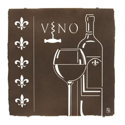 "Lazart - Fleur de Vino Bistro Metal Wall Art 18"" - Fleur  de  Vino  Bistro  Metal  Wall  Art  -  18          If  you  want  French  flavor  in  your  personal  bar,  our  Fleur  de  Lis  Bistro  metal  wall  art  delivers!  The  elegance  of  the  simple  fleur  de  lis  emblem  is  artfully  combined  with  the  stylistic  bistro  art  form  of  a  wineglass  and  wine  bottle,  all  carefully  cut  by  laser,  and  finished  in  an  Espresso  coating  that  adds  depth  and  contrast  to  this  metal  wall  art.  Measuring  18H  x  17.75W,  this  tasteful  metal  art  design  can  grace  your  walls  in  5  days,  whether  destined  for  wine  cellar,  home  bar  or  bistro  styled  dining  area."