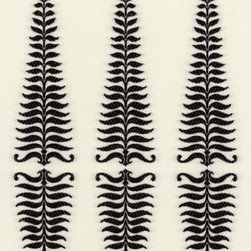 Fern Tree Wallpaper - This stylized pattern appears in an elongated diamond outline and comes in four color schemes: noir/creme, ivory/grey flannel, leaf/celadon and turquoise/ivory.