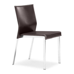 ZUO MODERN - Boxter Dining Chair Espresso (set of 2) - The Boxter Dining chair carries a sturdy heft from a regenerated leather seat and back with stitching and a solid steel chrome frame.