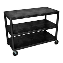 "Luxor - Luxor Industrial Cart - HEW335-B - All new. Luxor Industrial cart. Molded plastic shelves and legs wont stain, scratch, dent or rust. 400 lb. weight capacity (evenly distributed). New heavy-duty 5"" ball-bearing casters, two with locking brake. Black. Lifetime warranty. 48""W x 24""D x 38""H."