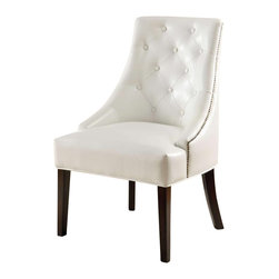 Coaster - Coaster Upholstered White Accent Chair in Cappucino Finish - Coaster - Accent Chairs - 900283 - Create a sophisticated traditional style in your living room or family room with this elegant chair. The button tufted back, nail head trim, and dark finished legs create the a most elegant allure. Covered in a faux leather with a luxurious quilted look, this lounge chair is sure to complement your home decor.
