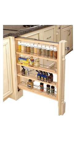 """Rev-A-Shelf - Rev-A-Shelf Wood-Base Cabinet Pullout Filler With Adjustable Shelves - Kitchen Cabinet storage space is always at a premium. This product features a wood base with three adjustable shelves that are ideal for providing extra storage space that will make it simple to find precisely what you're seeking. The chrome shelving rails create a sleek, clean look that will complement virtually any decor. This cabinet organizer is the perfect blend of form and function. To take advantage of every inch of your kitchen, check out the very popular Rev-A-Shelf 432-BF-3C Wood Pullout 3"""" Base Cabinet Filler and Organizer. Physical specifications: 3"""" W x 23"""" D x 30"""" H. Note: Fillers can only be installed with new cabinet construction."""