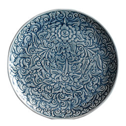 bailanmu - Blue Celadon Plates- Allover Floral, Large - Rustic with a unique story to tell, but practical to use every day.