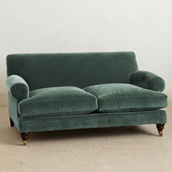Willoughby Settee, Duck Egg - I am a sucker for a velvet couch. This one is so elegant, so timeless and just beautiful.