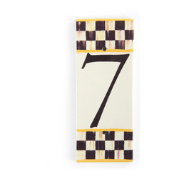 Courtly Check House Number - 7 | MacKenzie-Childs - If there's no second chance at a first impression, make yours count! Ceramic numbered tiles are bordered, top and bottom, with Courtly Checks and sunny yellow edges; flank each side with an end cap to finish the frame.