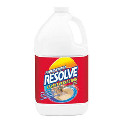 RECKITT BENCKISER - RESOLVE EXTRACTION CARPET CLEANER GALLON 4 PACK CASE - Concentrated. One product, one dilution for three cleaning uses: carpet extraction cleaner, traffic lane cleaner and pretreatment spray. Safe on wool, nylon, synthetic and stain-resistant carpets. Contains strong grease-cutting agents. Cleans and deodorizes. Low-foaming. Gallon bottle. 4 bottles per case.. . . . . . 4 Bottles per Case. Gallon Bottle. Professional RESOLVE® Carpet Extraction Cleaner. Dimensions: Height: 1.03333, Length: 1.04167, Width: 1.04167. Country of Origin: US