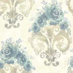 Beacon House - Olympia (Raised Ink) Allana Wallpaper - Embellish your walls with the look of a watercolor flourish! This turquoise, periwinkle and taupe pearl wallpaper has layers of brush-stroked beauty. Each wallpaper bolt is 20.5 inches wide and 33 feet long, covering about 56 square feet. The pattern has a 21 inch repeat and a Straight match.