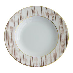 Michael Devine Ltd. - Thomas Rimmed Soup Plate - Michael Devine's Thomas dinnerware collection, masterfully hand painted in France on Limoges porcelain by Marie Daage, is inspired by his hand printed fabric of the same name.  The linear design transitions easily between modern and traditional settings offering a wide range of table setting possibilities.  Each beautiful piece is accented in 24 karat gold.