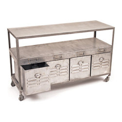 Loft Table - The Shabby Nest recently featured an ideabook on locker style, and I must say I love it. Thus, this versatile industrial piece caught my eye. The drawers are great for storage, and it can serve as a credenza, a console table, a sofa table or a sleek bar cart!