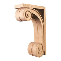 Hardware Resources - Rubberwood Bar Brackets Scrolled Corbels - Scrolled Wood Bar Bracket Corbel. 3In. x 9In. x 14In. with Flutted Detailing. Species: Rubberwood