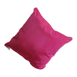 Garden Candy - Pink Silk Large Square Pillow - Garden Candy's Silk Large Square Pillow is made of 100% raw silk featuring a matching piping detail along the outer edges.  Not only is this full-size, comfy pillow perfect for your indoor or outdoor furniture but it also makes a great backdrop for any of our Decorative Pillows.