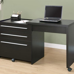 Monarch Specialties - Slide-Out Desk w Storage Drawers - Contemporary style. Lateral file drawer. Top surface extends to the side. Casters at the base for easy mobility. Cappuccino finish. 30 in. W x 21.5 in. D x 30 in. H (114 lbs.)This sleek contemporary workstation offers a compact work space that is ideal for apartments, condos or small homes. With clean lines in a bold dark finish, this desk will blend easily with your home decor. Add this desk to your home for a functional workstation, where ample storage options, excellent functional features and sophisticated style come together.