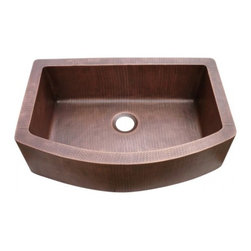 Yosemite Home Decor - Farmhouse Copper Sink Hammered Arch Single Bowl - Hammered Arch Single Bowl Farmhouse Sink which utilizes 16 gauge copper for maximum structural rigidity, multi-sided sound dampening pads