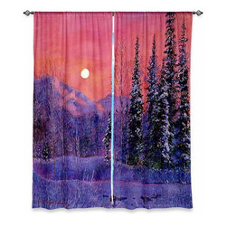 """DiaNoche Designs - Window Curtains Unlined by David Lloyd Glover - Rising Snow Moon - Purchasing window curtains just got easier and better! Create a designer look to any of your living spaces with our decorative and unique """"Unlined Window Curtains."""" Perfect for the living room, dining room or bedroom, these artistic curtains are an easy and inexpensive way to add color and style when decorating your home.  This is a tight woven poly material that filters outside light and creates a privacy barrier.  Each package includes two easy-to-hang, 3 inch diameter pole-pocket curtain panels.  The width listed is the total measurement of the two panels.  Curtain rod sold separately. Easy care, machine wash cold, tumbles dry low, iron low if needed.  Made in USA and Imported."""
