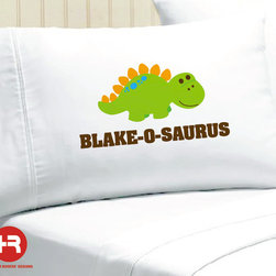 Dinosaur Pillowcase, Personalized by Heather Rogers Designs - How cool would it be to sleep on this adorable dino bearing your name?