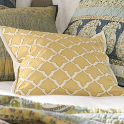 Marlo Embroidered Pillow Cover, Yellow - Embroidery is on trend right now, and you can enjoy a cheery pop of spring with this golden embroidered pillow cover. It's a great way to breathe fresh life into your sofa.