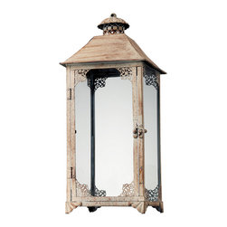 Sterling Industries - Vintage Lantern in Chauncey Distressed Cream - Metal vintage candle lantern in Chauncey distressed cream finish; hip roof. Tall rectangular hurricane style enclosure will accentuate your favorite candles of most any size. Display anywhere; set on a sofa or end table; hang from a plant hook or bar; part of the Restoration Collection from Sterling Home. 8 inches x 8 inches x 19 inches tall.