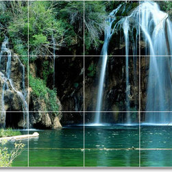 Picture-Tiles, LLC - Waterfalls Photo Wall Tile Mural W095 - * MURAL SIZE: 24x32 inch tile mural using (12) 8x8 ceramic tiles-satin finish.