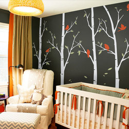 Thin Birch Tree Wall Decals - Customized birch tree decals for your living room, bedroom, or baby nursery! The birds and leaves can go anywhere on the tree. Arrange them any way you like.