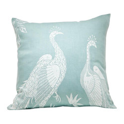 Indochine Peacock Bird Pillow, Sky/White