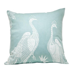 Cricket Radio - Indochine Peacock Bird Pillow, Sky/White - Intricate, ever-beautiful peacocks lend an exotic grace to this hand-printed throw pillow. Soft aqua and white keep the tropical print neutral, so you can use it in the most minimal of contemporary settings, but naturally, those birds would feel right at home among lush, botanical prints and Indonesian influences. The image is silk-screened onto soft, sustainable linen using ecofriendly ink.