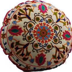 White Medallion Round Floor Pillow