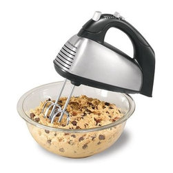 Hamilton Beach - Hamilton Beach - 6 Speed Classic Hand Mixer - Snap-on storage case. 290 Watts peak power makes mixing easy. Convenient mixing features including QuickBurst button and Bowl Rest. Versatile attachment set includes traditional beaters - wire beaters and whisk. Brushed stainless steel