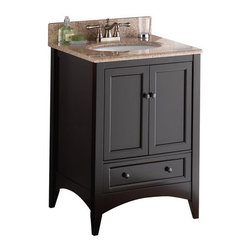 "Foremost - Foremost BECA2421D Espresso Berkshire Berkshire Bathroom Vanity 21-3/4 - Vanity Package Includes:Vanity cabinet constructed of hardwood materialNatural stone vanity / counter topVanity Cabinet Features:Constructed of hardwood materialVanity features a single full extension drawer providing ample concealed storage space – drawers operate on smooth ball-bearing glidesVanity features 1 full sized cabinet with matching doors providing ample storage spaceThis model is a complete package - base and top are includedComplete with matching decorative hardwareVanity is crated and shipped fully assembledSolid construction and assembly provides years of reliable performanceVanity Top Features:Vanity top is constructed of natural stone provides a sturdy feel and clean appearanceVanity top is equipped with backsplash to help contain any messes to the counter topFaucet and waste assembly not included with this model - must be purchased separatelySturdy mounting assembly – ensuring safety and reliabilityAll hardware needed for installation is includedVanity Cabinet Specifications:Overall Height: 34"" (measured from ground level to highest point on vanity)Overall Width: 21-3/4"" (measured from left most to right most part on vanity)Overall Depth: 24"" (measured from back most to front most part on vanity)Mounting Style: FreestandingNumber of Drawers: 1Number of Doors: 2Number of Shelves: 0Vanity Top Specifications: Overall Width: 21-3/4"" (measured from left edge to right edge of vanity top)Overall Depth: 24"" (measured from back edge to front edge of vanity top)Sink Included: No"