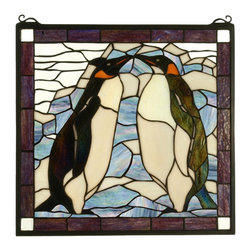 Meyda Tiffany - Meyda Tiffany Penguin Stained Glass Tiffany Window X-99517 - Add whimsy and charm to your home with this Meyda Tiffany stained glass Tiffany window. From the Penguin Collection, this whimsical design features chocolate browns, plum burgundies, black and white, all of which work effortlessly together to create a charming look that is sure to please.