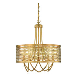 Savoy House - Fairview 5 Light Large Pendant - Fairview Strikes The Perfect Balance With Gleaming Pierced Metal And Rich Rubbed Brass Finish. This Raymond Waites Design Has Timeless Elegance Blended With A Clean Modern Vibe. The Collection Includes A Pendant, Chandelier, Entry And Two Sconces.