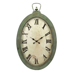 """Imax Worldwide Home - Noran Oversized Wall Clock - A pocket watch fit for a giant, the Noran Oversized Wall Clock, with its warm patina, Roman numerals and classic spade hands will create the perfect vintage look.; Materials: 60% Iron, 15% Glass, 15% Clock Components, 5% Paper, 5% Mdf; Country of Origin: China; Weight: 20.24 lbs; Dimensions: 41""""H x 26.25""""W x 3.75"""""""