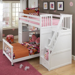 Ne Kids - NE Kids School House Stairway Loft Bed - White - 7090-DESK - Shop for Bunk Beds from Hayneedle.com! The Schoolhouse Stairway Loft Bed - White is to put it lightly utterly ingenious. The heart of all furniture is in the construction and solid hardwood makes this piece as strong as an ox. In dazzling white you'll marvel at its brilliance every day and night and the best is yet to come. Three drawers and a rolling toy box are integrated in the four stairs effectively making this piece a dresser in itself. At the opposite end of the staircase is the desk which may be faced inward or outward not to mention interchanged with the stairs to suit your individual needs and preferences. The loyal guardrail will ever keep this bed's occupant aloft and you may choose the optional lower bed in twin or full sizes to accommodate anyone of any age. It doesn't get cooler than this. Dimensions: Loft: 99.5L x 42W x 67H inches Twin lower bed: 80L x 42.25W x 25.5H inches Full lower bed: 80L x 58.3W x 25.5H inches We take your family's safety seriously. That's why all of our bunk beds come with a bunkie board slat pack or metal grid support system. These provide complete mattress support and secure the mattress within the bunk bed frame. Please note: CPSC recommends the tops of the guardrails must be no less than 5 inches above the top of the mattress and that top bunks not be used for children under 6 years of age. About New Energy KidsNE Kids is a company with a mission: to establish and import truly unique furniture for your child. For over thirty years they've been accomplishing this mission with flying colors one room at a time. Not only will these products look fabulous they will provide perfect safety for your children by adhering to the highest standards set by the American Society for Testing and Material and the Consumer Products Safety Commission. Your kids are in the best of hands and everyone will appreciate these high-quality one-of-a-kind pieces for years to come.