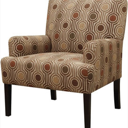 Coaster - Accent Chair, Houndstooth Pattern - Invite autumn colors into your room with this geometric patterned accent chair. Featuring plush seating and arms. Matching pillow available (#905000)