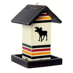 Outside Inside - White Moose Blanket Birdfeeder - The majestic moose is a classic wilderness icon. This White Moose Blanket Bird Feeder features a large Bull Moose set against a multi-striped backdrop that brings a casual yet tasteful charm to your outdoor living areas. Made of wood, this feeder is hand