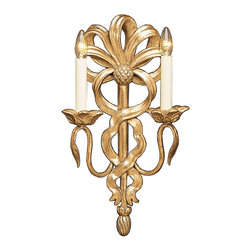 "Inviting Home - Ribbon motif Wall Sconce - ribbon motif wall sconce in antiqued gold leaf finish; 10"" x 17-1/2""H; hand-crafted in Italy; This delightful wall sconce is made from wood and has an antiqued real gold leaf finish. Wall sconce is hand crafted in Firenze (Italy). Playful yet sophisticated design of this hand crafted sconce features ribbon motif back with elegantly tied bow on the top. Gracefully curved lines of the sconce handles terminating in a natural leaf form which presents a wonderfully sculptured with open leaf motif candleholders. This wall sconce is electrified and comes with two lights that are designed for candelabra bulbs only. UL approved - dry location; hardwire; 2x 60W max. candelabra bulds; bulbs not included. Handcrafted in Italy."