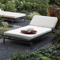 None - Alyssa Antique Beige Adjustable Outdoor Chaise with Sunbrella Fabric Cushion - Resilient outdoor chaise cushions are what make this patio chair extremely comfortable to relax in. The dark gray frame, which can lay completely flat, features six reclining positions and compliments the light color of the detachable fabric cover.