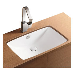 Caracalla - Rectangular White Ceramic Undermount Bathroom Sink, No Hole - Stylish rectangular sink for the bathroom designed by Caracalla in Italy. Contemporary ceramic bathroom sink has curved basin with overflow. Washroom sink is mounted below vanity or countertop and does not have faucet holes.