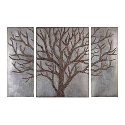Uttermost Winter View Rustic Tree Mirror Set/3 - Rustic brown tree design with gold highlights and a lightly antiqued silver leaf background. Rustic brown tree design with gold highlights and a lightly antiqued silver leaf background. Sizes: center-30x40x2, sides(2)-15x40x2