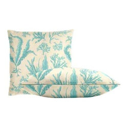 "Cushion Source - Floating Seaweed Baltic Outdoor Throw Pillow Set - The Floating Seaweed Baltic Outdoor Throw Pillow Set consists of two luxurious  18"" x 18"" woven throw pillows featuring an organic seaweed pattern in aqua on a white background. Perfect for the beach!"