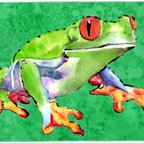 Caroline's Treasures - Frog Kitchen Or Bath Mat 20X30 - Kitchen / Bath Mat 20x30 - 20 inches by 30 inches. Permanently dyed and fade resistant. Great for the Kitchen, Bath, outside the hot tub or just in the door from the swimming pool.    Use a garden hose or power washer to chase the dirt off of the mat.  Do not scrub with a brush.  Use the Vacuum on floor setting.  Made in the USA.  Clean stain with a cleaner that does not produce suds.