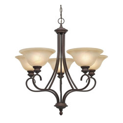 Golden Lighting - RBZ 5 5 Light Single Tier Up Light ChandelierLancaster Collection - Golden Lighting's Lancaster Collection features a transitional style of decorative lighting that is perfect for traditional to soft modern settings.