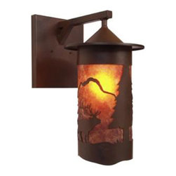 Steel Partners Inc - Wet Sconce - PASADENA ELK - Wet Location - Every piece we create is unique — handcrafted at our factory in Chehalis, Washington, USA. Due to this, lead times are 2 to 4 weeks.